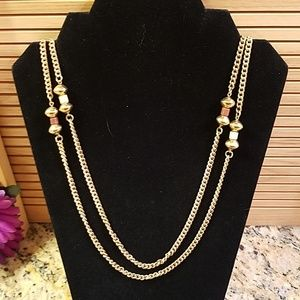 "Long 48"" Golden chain w brown yellow beads GUC"